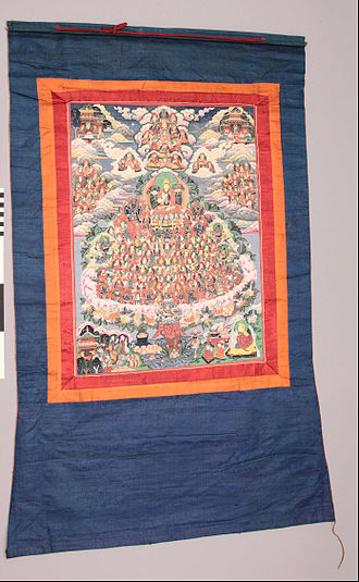 Gelug Lineage Refuge Tree thangka depicting Je Tsongkapa at the pinnacle of the tree Thanka - Google Art Project (434620).jpg