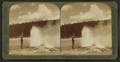 The 'Black Warrior' Geyser waving a banner of steam spray, Yellowstone Park, U.S.A, by Underwood & Underwood 2.png