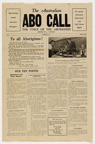 Abo Call - Front page of The Australian Abo Call April 1938