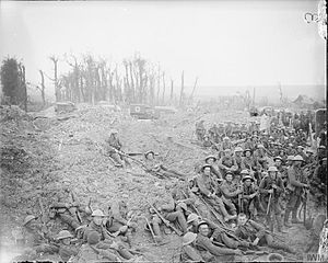 41st Division (United Kingdom) - Men of 5 Platoon, B Company, 15th (Service) Battalion, Hampshire Regiment resting before going into the trenches. Southern Road, Mametz Wood, France, 17 July 1916.