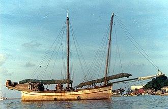 Bedar (ship) - The bedar Dapat unloaded in the estuary of Kuala Terengganu, 1980
