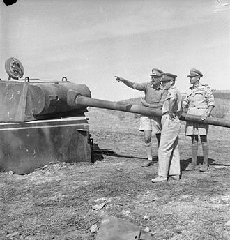 John Harding, 1st Baron Harding of Petherton - General Sir Harold Alexander (right), with Lieutenant General Sir Oliver Leese and Lieutenant General Sir John Harding, inspect one of the German Panther tank turrets which formed part of the Gothic Line defences, September 1944.