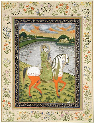 Ahmad Shah Bahadur - The Mughal Emperor Ahmad Shah Bahadur, practices his equestrian skills, in a hunting field in 1750.