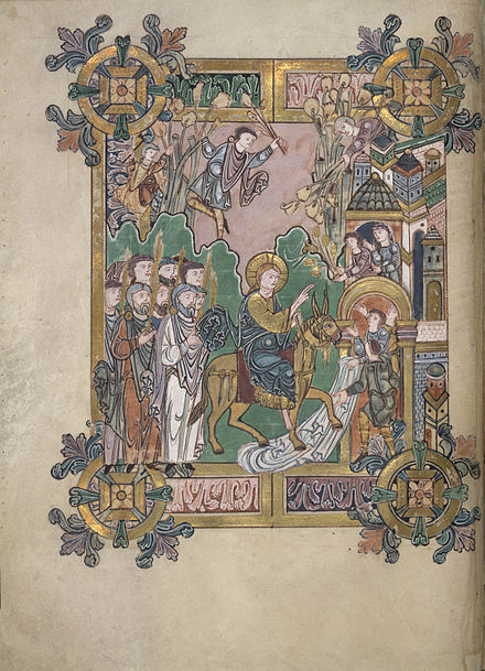 The Entry into Jerusalem from the Benedictional of Saint AEthelwold (British Library) The Entry into Jerusalem - Benedictional of St. Aethelwold (971-984), f.45v - BL Add MS 49598.jpg