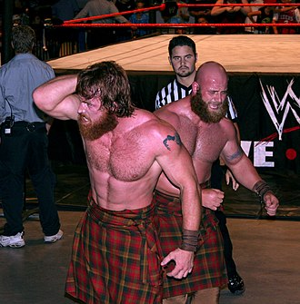 The Highlanders (professional wrestling) - Robbie (left) and Rory McAllister leaving the ring after a match.
