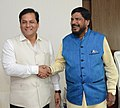 The Minister of State for Social Justice & Empowerment, Shri Ramdas Athawale meeting the Chief Minister of Assam, Shri Sarbananda Sonowal, in Guwahati on April 27, 2017.jpg