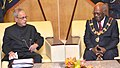 The President, Shri Pranab Mukherjee meeting the Governor General of Papua New Guinea, Sir Michael Ogio, at Government House, Port Moresby, in Papua New Guinea on April 28, 2016.jpg
