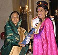The President, Smt. Pratibha Devisingh Patil presenting the Padma Bhushan Award to Dr. Mallika V. Sarabhhai, at the Civil Investiture Ceremony-II, at Rashtrapati Bhavan, in New Delhi on April 07, 2010.jpg