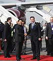 The Prime Minister of United Kingdom, Mr. David Cameron being received by the Minister of State for Human Resource Development, Shri Jitin Prasada, at Air Force Station, Palam, in New Delhi on February 19, 2013.jpg
