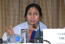 The Union Minister for Railways, Kumari Mamata Banerjee briefing the media persons, in New Delhi on September 14, 2009.jpg