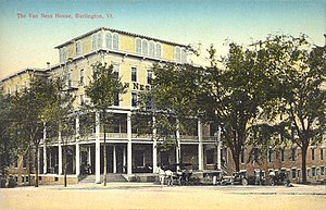 Burlington, Vermont - The Van Ness House hotel, built in 1870, burned down in 1951