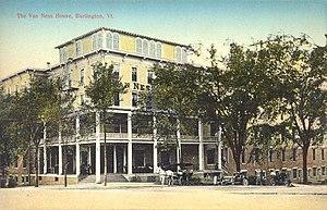 Burlington, Vermont - The Van Ness House hotel, built in 1870, burned down in 1951