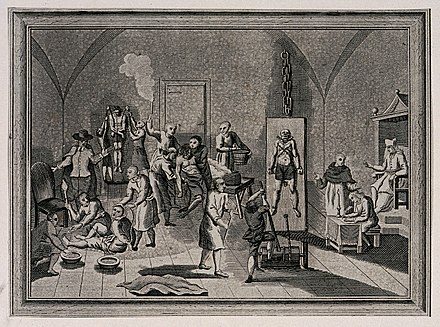The inside of a jail of the Spanish Inquisition, with a priest supervising his scribe while men and women are suspended from pulleys, tortured on the rack or burnt with torches. Etching. The inside of a jail of the Spanish Inquisition, with a prie Wellcome V0041650.jpg