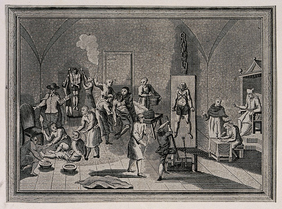 The inside of a jail of the Spanish Inquisition, with a prie Wellcome V0041650