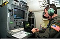 The navigation officer on a Boeing 707 aircraft, leaving Rhein Main Air Base, Germany, plots a course using a laptop computer in connection with the Joint Surveillance Target Attack Radar System (J-STARS) 960219-A-KF633-004.jpg