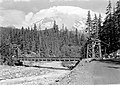 The old suspension (wood) bridge across the Nisqually River at Longmire in Mount Rainier National Park. Mount Rainier in the (92e716986c9b41f3b76319ce04f8e34e).jpg