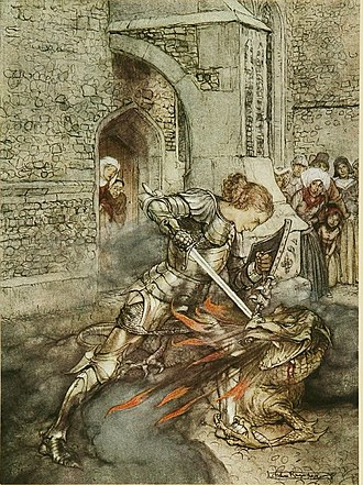 Lancelot - Lancelot slaying a firebreathing dragon in Arthur Rackham's illustration for Tales of King Arthur and the Knights of the Round Table (1917)