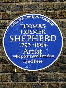 Thomas hosmer shepherd 1793 1864 artist who portrayed london lived here