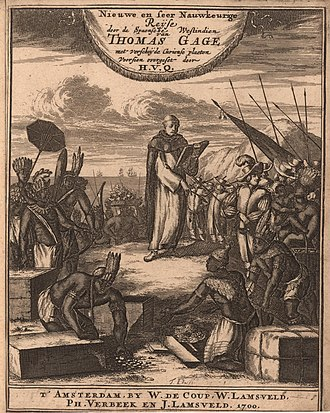 Thomas Gage (priest) - Engraved title page from the Dutch translation of Thomas Gage's The English-American his travail by sea and land: or, A new survey of the West-Indies (Amsterdam 1700)