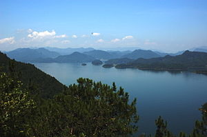 Qiandao Lake - Thousand Island Lake or Qiandao Lake viewed from atop a bell tower