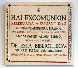 Threat of excommunication to thieves of books in the library of the university of Salamanca (Spain).jpg