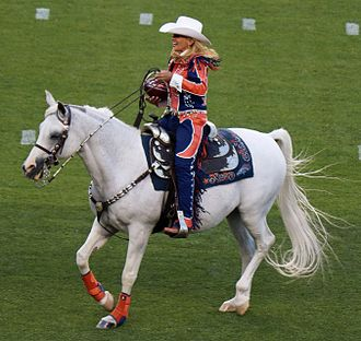 Thunder (mascot) - Thunder III and Ann Judge delivering the game ball