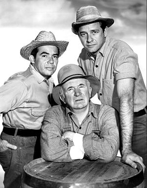 Tony Martinez (actor) - Martínez (left) as Pepino with Walter Brennan and Richard Crenna in The Real McCoys, 1962.