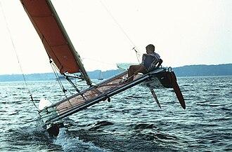 Tornado (sailboat) - One hull flying