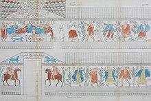 Reproduction sur papier balnc des dessins provenant d'une fresque funéraire, en couleur (bleu, rouge marron, jaune et vert), avec des figures de cavaliers, de cultivateurs, de musiciens et de riches banquetant.