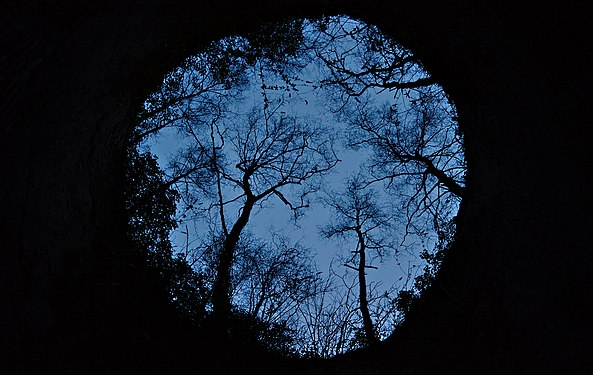 Tournai, BE (DSCF5154) Looking up from a 19th century lime kiln during civil twilight.jpg