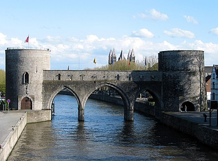 """Pont des Trous"" bridge on the Scheldt river with Our Lady's Cathedral of Tournai in the distance Tournai JPG05a.jpg"