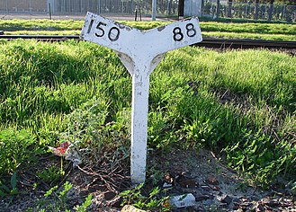 Grade (slope) - Grade indicator near Bellville, Western Cape, South Africa, showing 1:150 and 1:88 grades.
