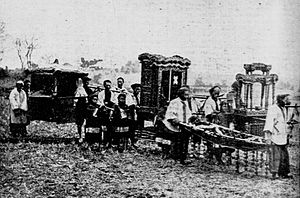 Chinese funeral rituals - Traditional Chinese funeral march, circa 1900.