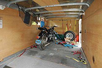 Motorcycle trailer - Interior of a 12-foot Wells Cargo enclosed motorcycle trailer.