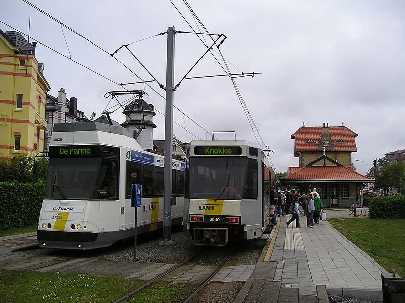 A couple of trams in De Haan station