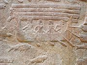 Relief from Assyrian capital of Dur Sharrukin, showing transport of Lebanese cedar (8th century BC)