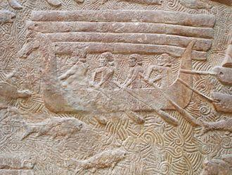 Assyrian homeland - Relief from Assyrian capital of Dur Sharrukin, showing transport of Lebanese cedar (8th century BC)