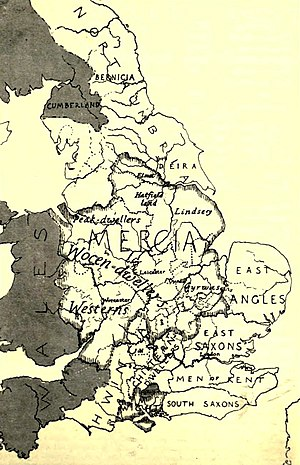 Tribal Hidage - Brownbill's Tribal Hidage map, from The English Historical Review (1912)