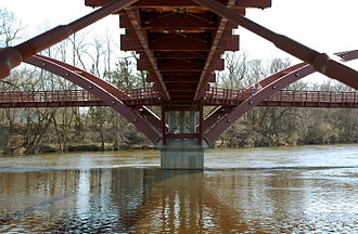 Tittabawassee River - The Tridge is a three-way bridge at the confluence of the Tittabawassee and Chippewa rivers