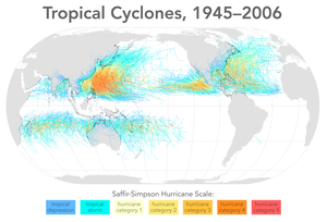 Typhoons in the Philippines - Tracks of tropical cyclones worldwide, 1945–2006.  The Philippines is under the red and yellow tracks northeast of Borneo.  The southern island of Mindanao can be seen south of most tracks.