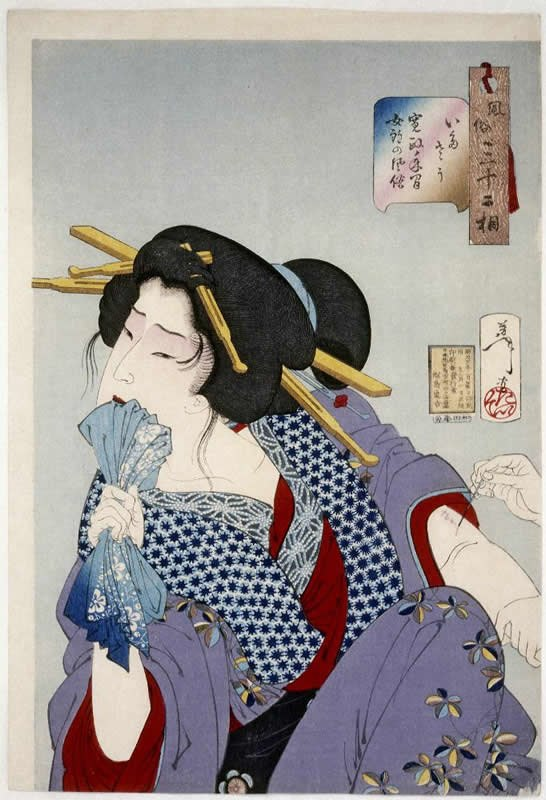 Tsukioka Yoshitoshi - Looking in Pain - a Prostitute of the Kansei Era