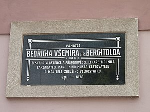 Friedrich von Berchtold - Plaque commemorating Berchtold at the municipal office building in the village of Tučapy (Tábor District), Czech Republic.