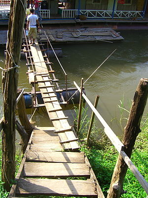 Plank (wood) - Image: Two plank footbridge to stairs across water