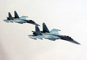 Two Russian Su-27 Flanker aircraft.jpg