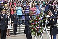 U.S. Army Gen. Martin E. Dempsey, front, third from left, the chairman of the Joint Chiefs of Staff, his wife, Deanie, second from left; and a crowd of attendees watch as President Barack Obama lays a wreath 130527-D-HU462-153.jpg
