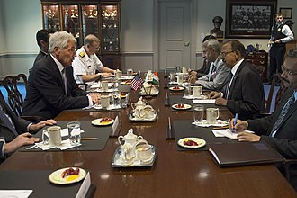 Ajit Doval - Image: U.S. Defense Secretary Chuck Hagel, left, meets with Indian National Security Adviser Ajit Doval, second from right, at the Pentagon 141001 F DT527 105c