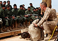 U.S. Marine Corps Sgt. Shane Willis, a chief instructor assigned to a police advisor team with 2nd Battalion, 6th Marine Regiment, teaches handcuffing procedures to Afghan police recruits 120208-M-MM640-785.jpg