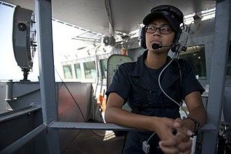USS Arleigh Burke - A quartermaster aboard Arleigh Burke in 2014.