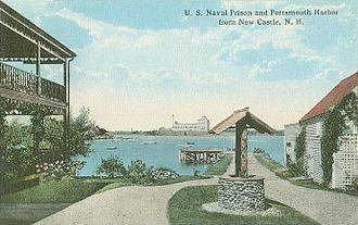 Portsmouth Naval Prison - Prison from across river, c. 1913