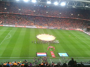 UEFA Euro 2016 qualifying Group A - Line-up of the Netherlands–Kazakhstan teams prior to the match